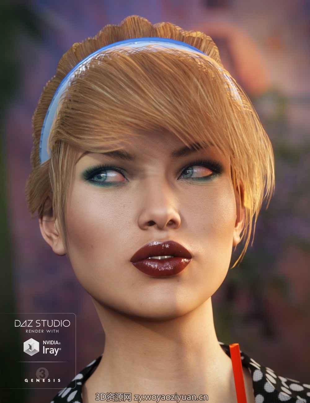 SP Hair 014 for Genesis 3 and 8 Female - Daz Studio-我要资源网
