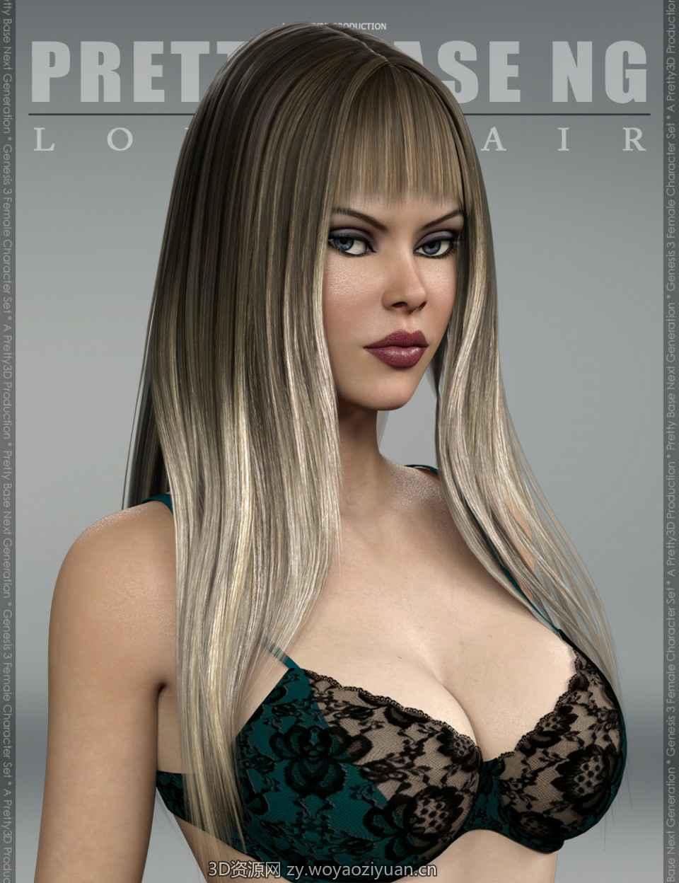 Pretty Base NG Long Hair for Genesis 3 Female(s)
