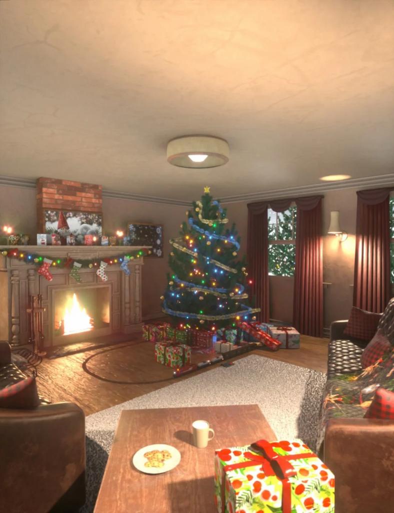 Cozy Christmas Living Room - Daz Studio-我要资源网-daz模型资源