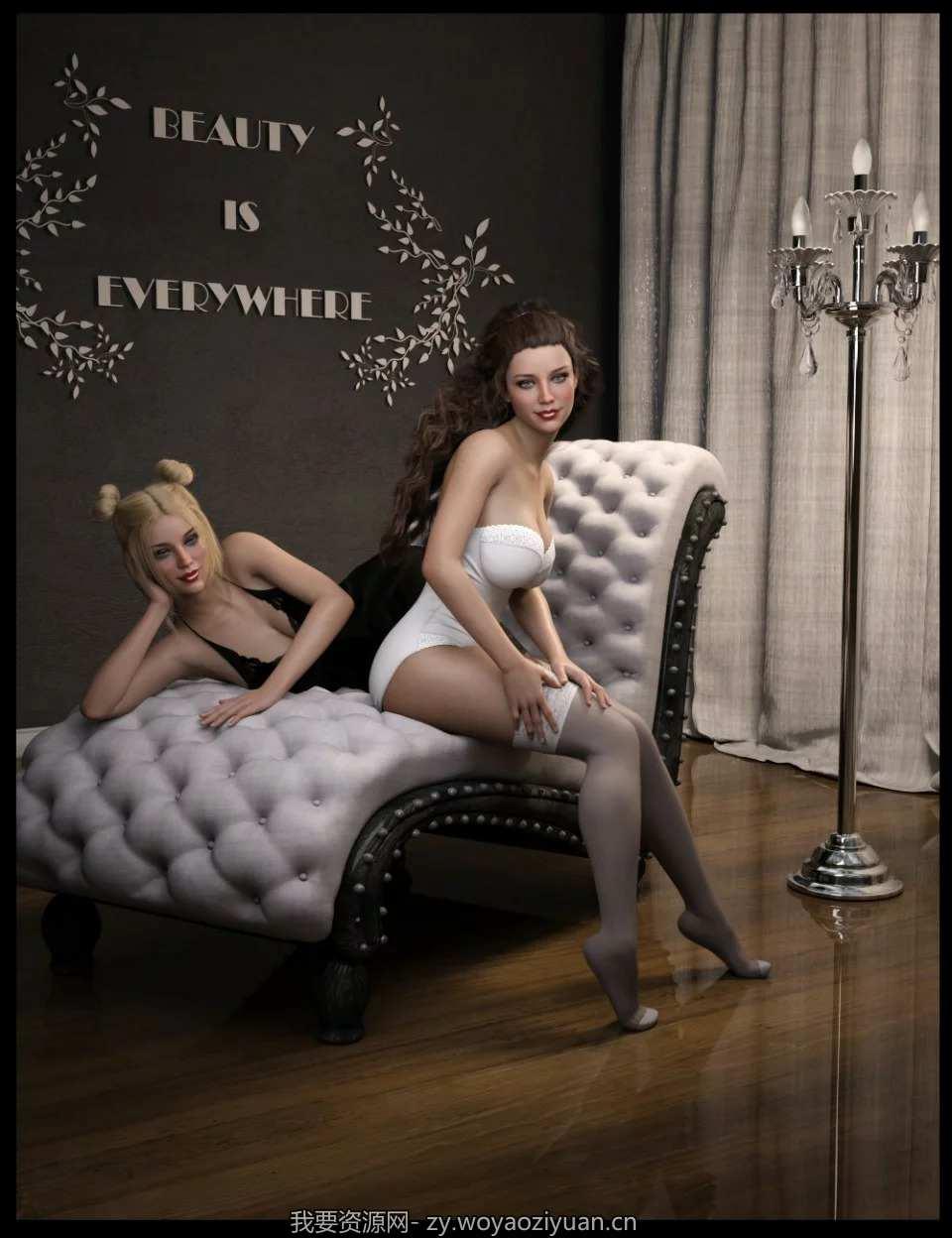iG Elegant Charm Prop Set and Poses For Genesis 8 Female(s)