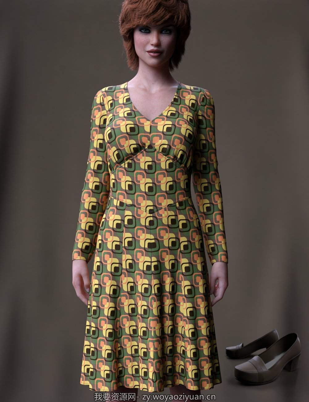 dForce 70's Work Dress for Genesis 8 Female(s)