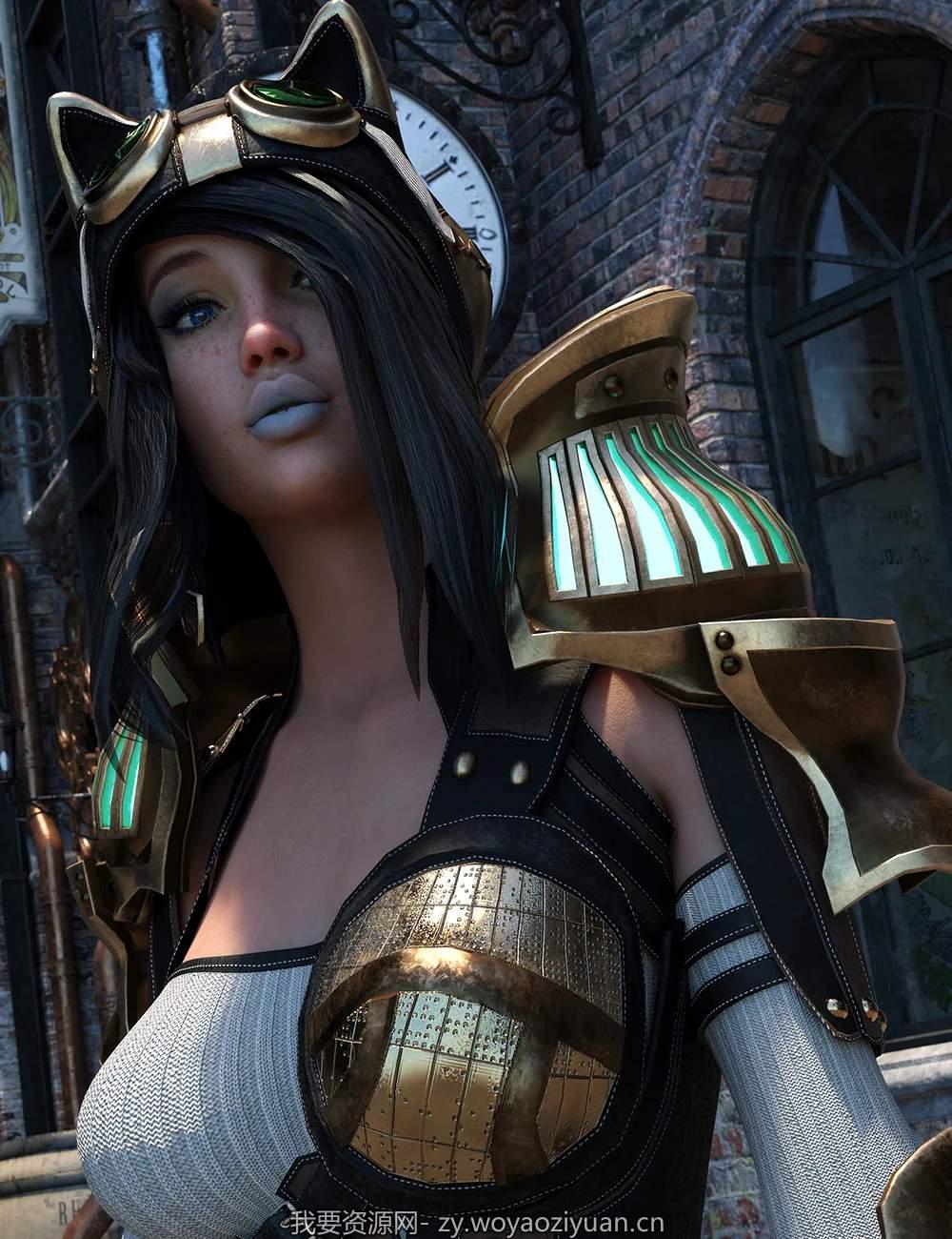 dForce Lynx Steampunk Armor for Genesis 8.1 Females